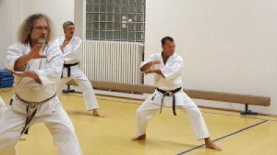 Jörg Freigang (v.l.) bei Kata Training. Im Hintergrung Gert krüger und Fernando