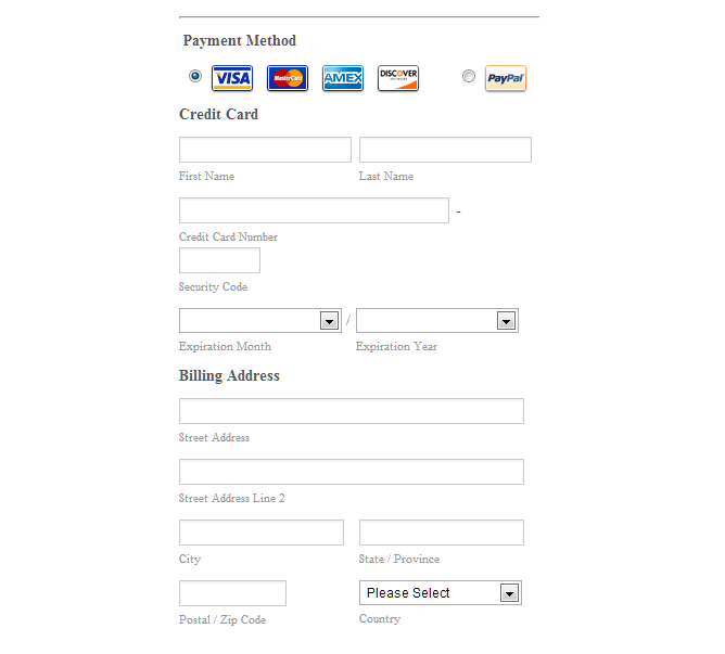 Credit Card Form Template  recurring credit card