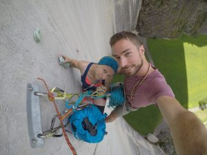 hanging at top of second pitch diga di luzzone