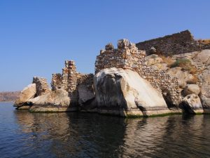 Castle on twin island lake bafa