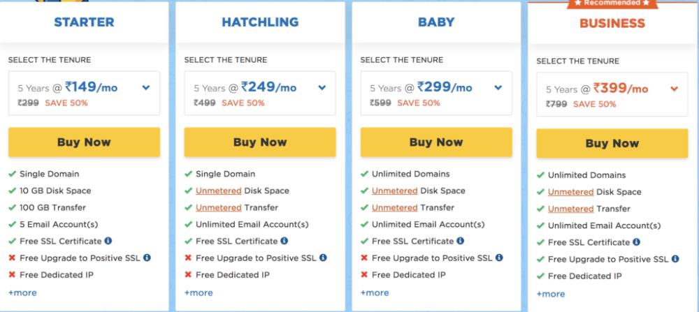 Hostgator hosting pricing