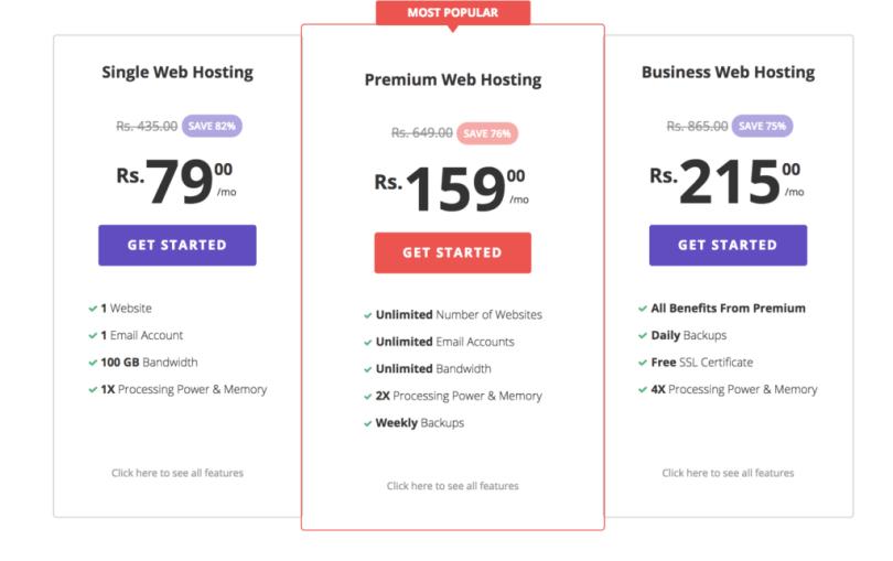 Hostinger hosting pricing