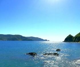 バイク日和の晴れた日の青い海と空