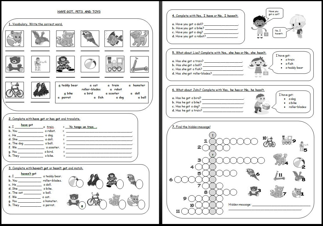 Worksheets Verb To Have Got Show And Text