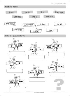 Completar y unir las formas del verbo TO BE