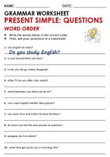 Corregir el orden de las palabras para frases en presente simple