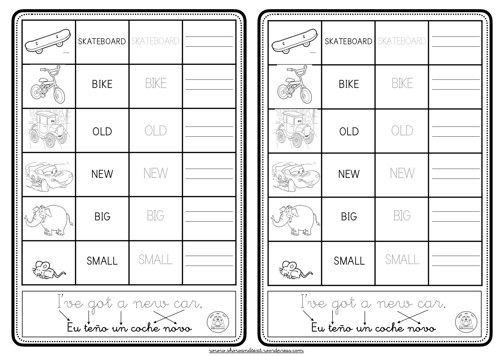 Worksheets Toys Show And Text