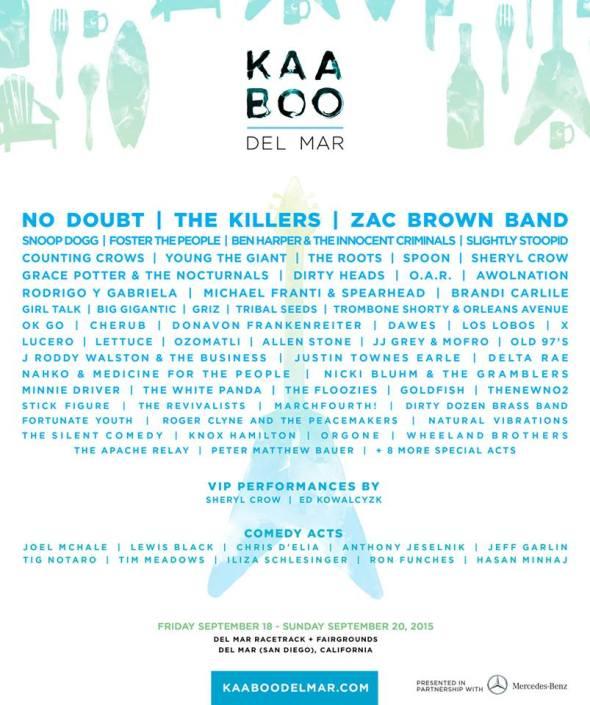 2015 KAABOO Del Mar lineup