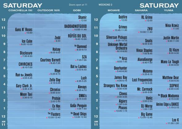 Coachella 2016 - Weekend 2 - Saturday set times