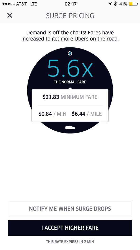 Splash House 2016 - Weekend 2 - Uber surge charge