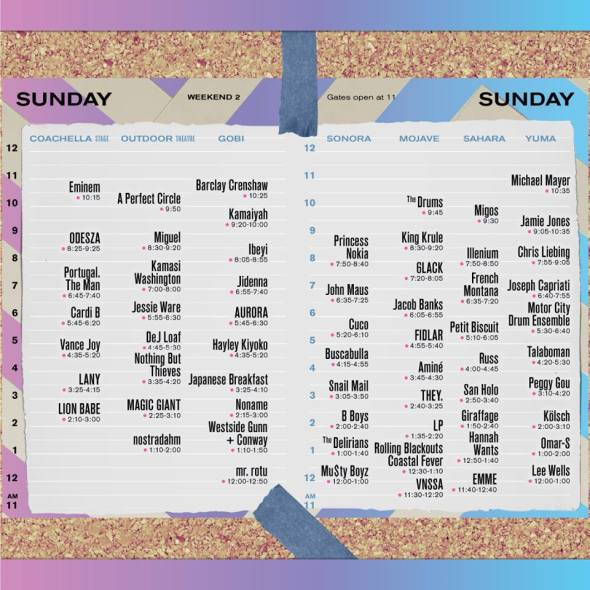 Coachella 2018 - Sunday set times