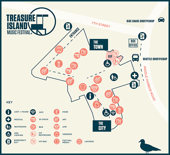 Treasure Island Music Festival - 2018 map