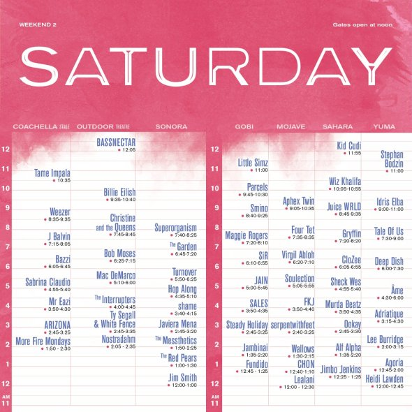 Coachella 2019 - Weekend 2 - Saturday set times