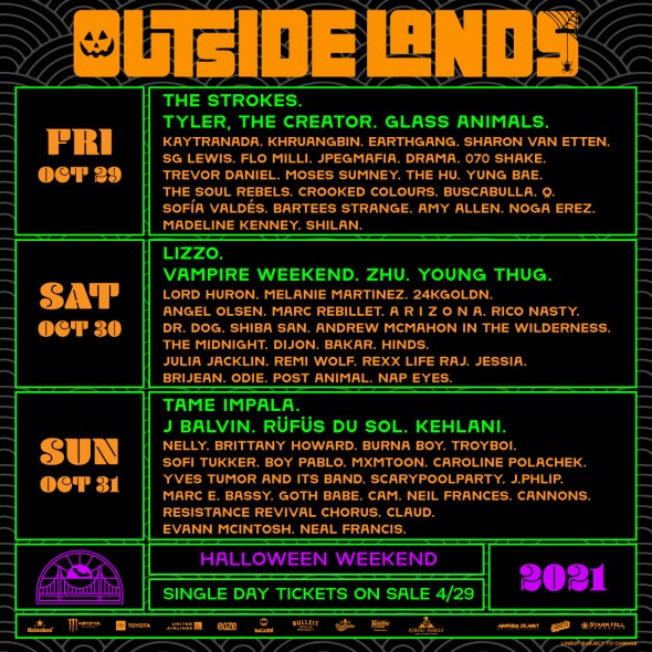 Outside Lands - 2021 daily lineups
