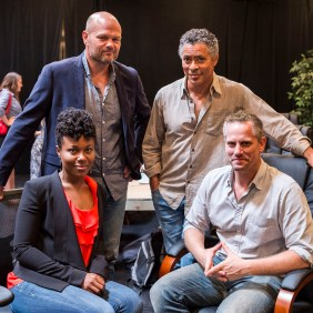 """L-R (back row): cast members Chris Bauer and Dominic Hoffman and L-R (front row): cast members DeWanda Wise and Jonno Roberts during the first rehearsal for David Mamet's """"Race."""" Directed by Scott Zigler, """"Race"""" will play at the Center Theatre Group/Kirk Douglas Theatre August 31 - September 28. Opening is set for September 7. For tickets and information, visit CenterTheatreGroup.org or call (213) 628-2772. Contact: CTGMedia@CenterTheatreGroup.org/ (213) 972-7376 Photo by Craig Schwartz"""