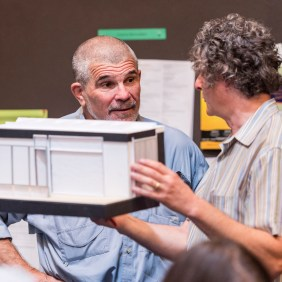 """L-R: Playwright David Mamet and Director Scott Zigler during the first rehearsal for Mamet's """"Race."""" Directed by Zigler, """"Race"""" will play at the Center Theatre Group/Kirk Douglas Theatre August 31 - September 28. Opening is set for September 7. For tickets and information, visit CenterTheatreGroup.org or call (213) 628-2772. Contact: CTGMedia@CenterTheatreGroup.org/ (213) 972-7376 Photo by Craig Schwartz"""