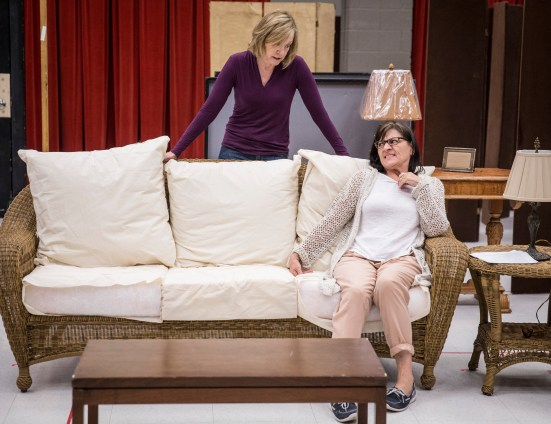 Mary Beth Fisher (Masha) and Janet Ulrich Brooks (Sonia) in rehearsal for Vanya and Sonia and Masha and Spike written by Christopher Durang, directed by Steve Scott at Goodman Theatre (June 20 – July 26, 2015)