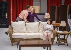 Jordan Brown (Spike), Mary Beth Fisher (Masha) and Janet Ulrich Brooks (Sonia) in rehearsal for Vanya and Sonia and Masha and Spike written by Christopher Durang, directed by Steve Scott at Goodman Theatre (June 20 – July 26, 2015).