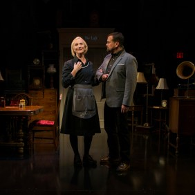 Delia Kropp and Scott Duff in About Face Theatre's production of I AM MY OWN WIFE, by Doug Wright, directed by Artistic Director Andrew Volkoff. Photo by Michael Brosilow.