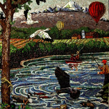 """Mosaic Mural The Skagit Right side full mural size is 60"""" x 144"""" people fishing, snow geese, hot air balloons, heron, salmon, ducks, other wildlife Mt. Baker."""