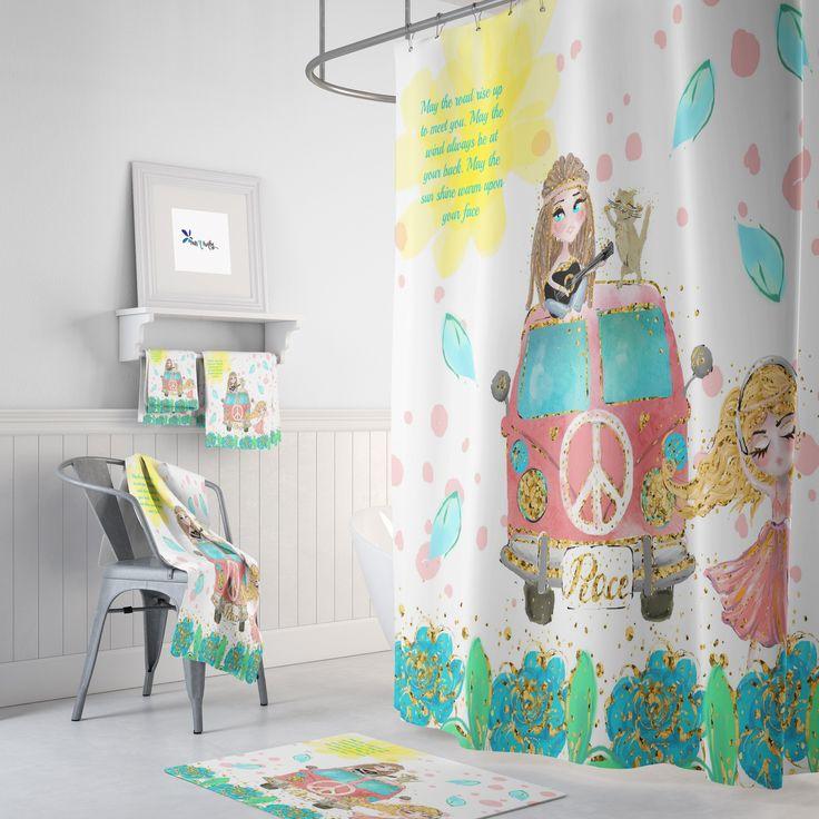 boho shower curtain hippie chic blessing retro van bath mat bath towel option 2019 shower diy