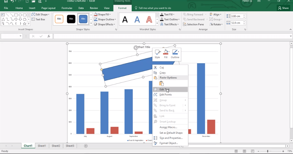 ADMNEXC305306 Excel Training - Learn to Insert a Shape into a Chart