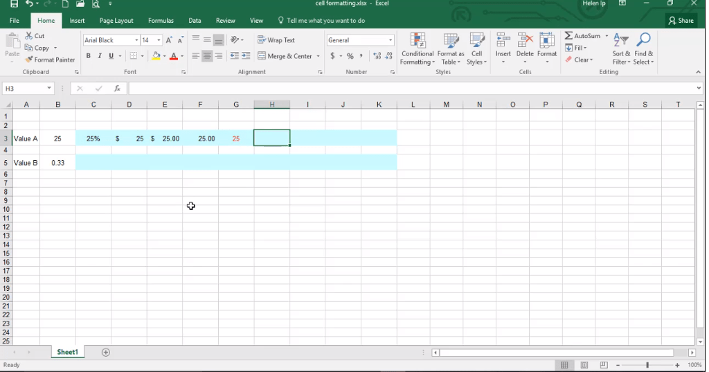 ADMNEXC306102 Excel Training - How to Identify Cell Formatting