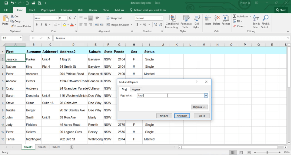 ADMNEXC307205 Excel Training - How to find information using the Find command
