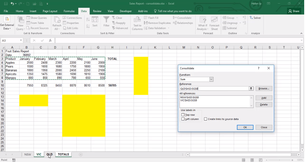 ADMNEXC309102 Excel Training - How to Consolidate contents from several sheets