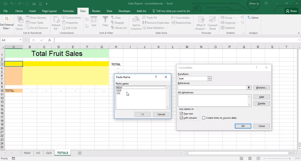ADMNEXC309103 Excel Training - Data consolidation with Named Ranges