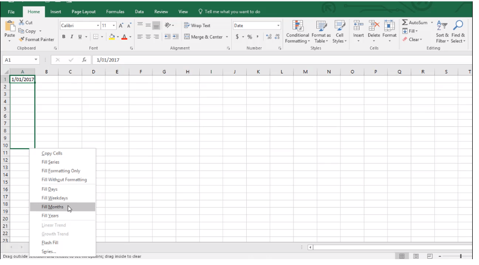 AMDNEXC302108 Excel Training - Learn how to use the AutoFill Shortcut menu