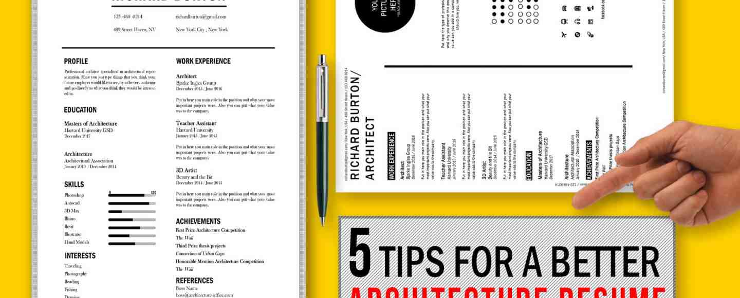5 Tips for a Better Architecture Resume CV / Free Template Included