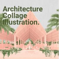 Architecture Collage Illustration Market Plaza