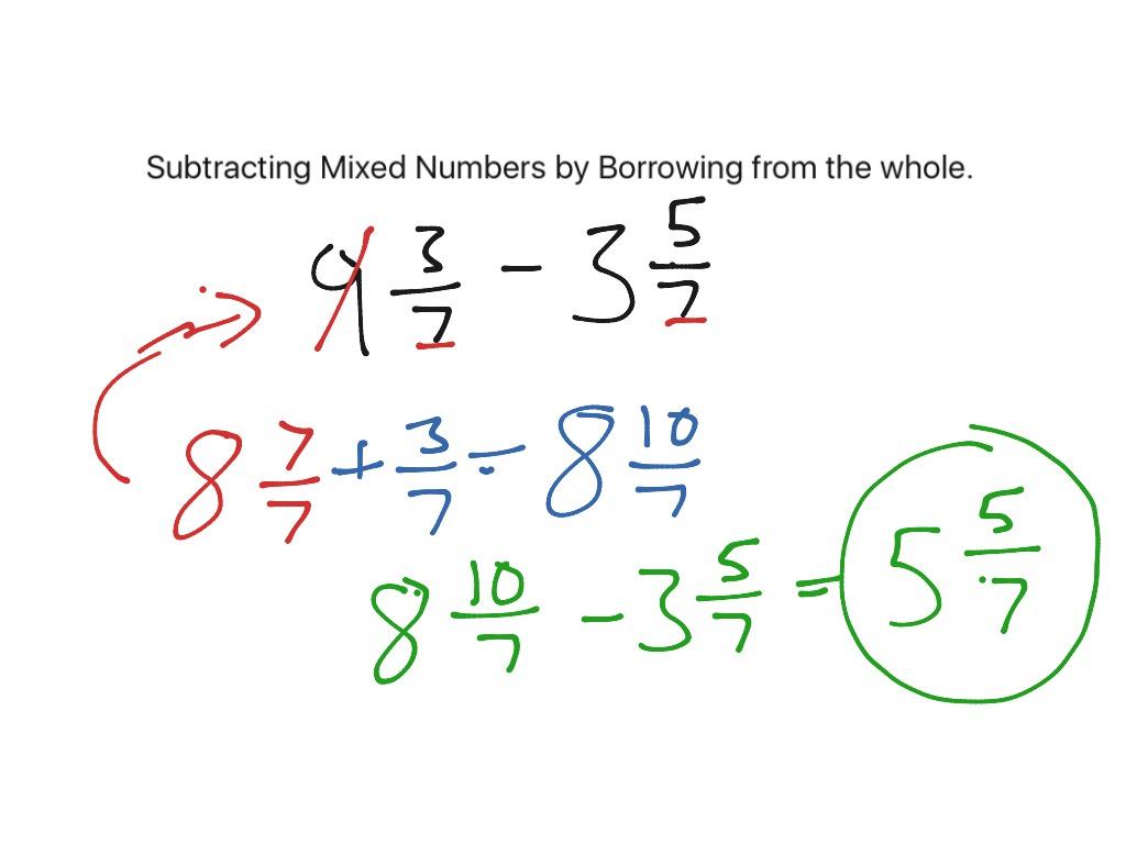Subtracting Improper Fractions