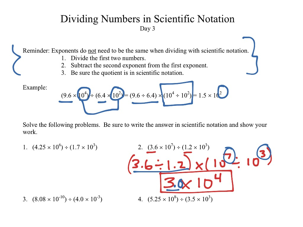 Multiplying And Dividing Scientific Notation Word Problems