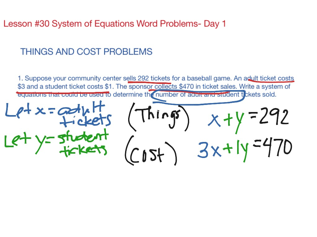 Lesson 30 System Of Equation Word Problems Day 1