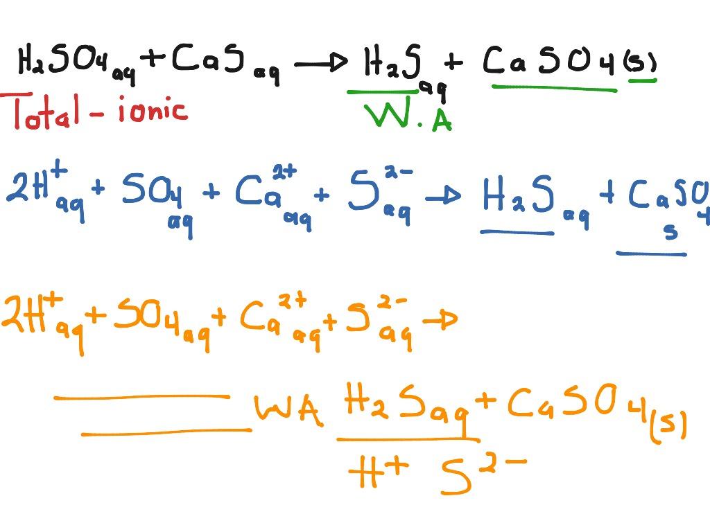 Sulfuric Acid With Calcium Sulfide Net Ionic Equation