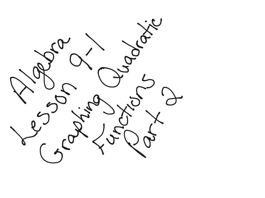 Algebra Lesson 9 1 Graphing Quadratic Functions Part 2