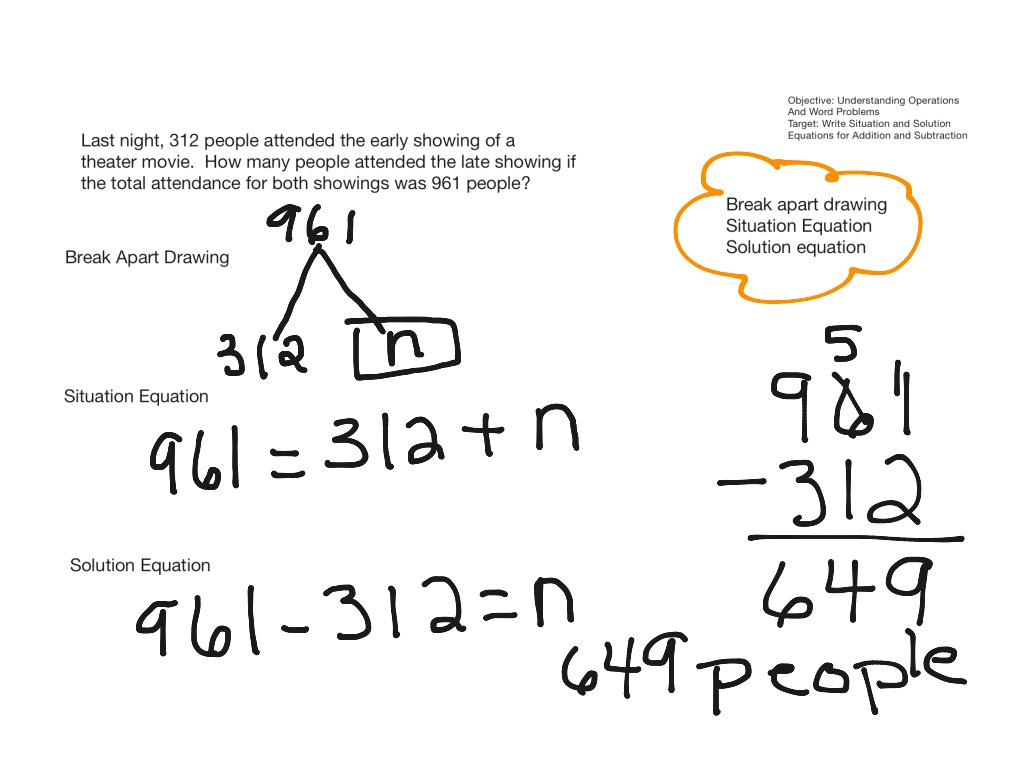 Situation And Solution Equations For Word Problems