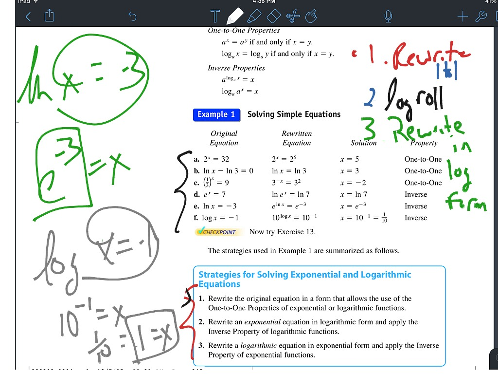 3 4 Intro To Solving Logarithmic Exponential Equations