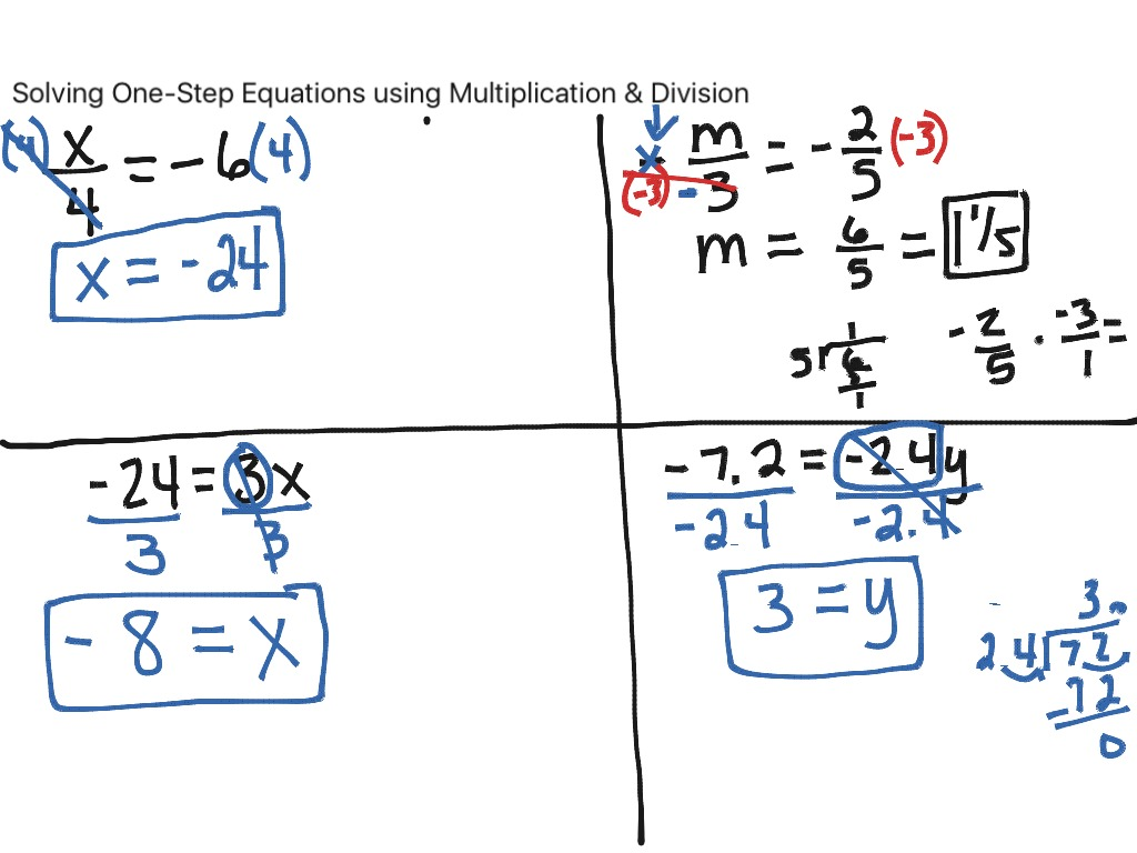 1 Step Equations Division Worksheet