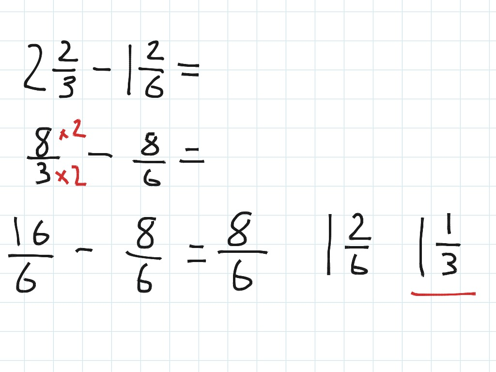 Subtract Fractions With Different Denominators And Mixed