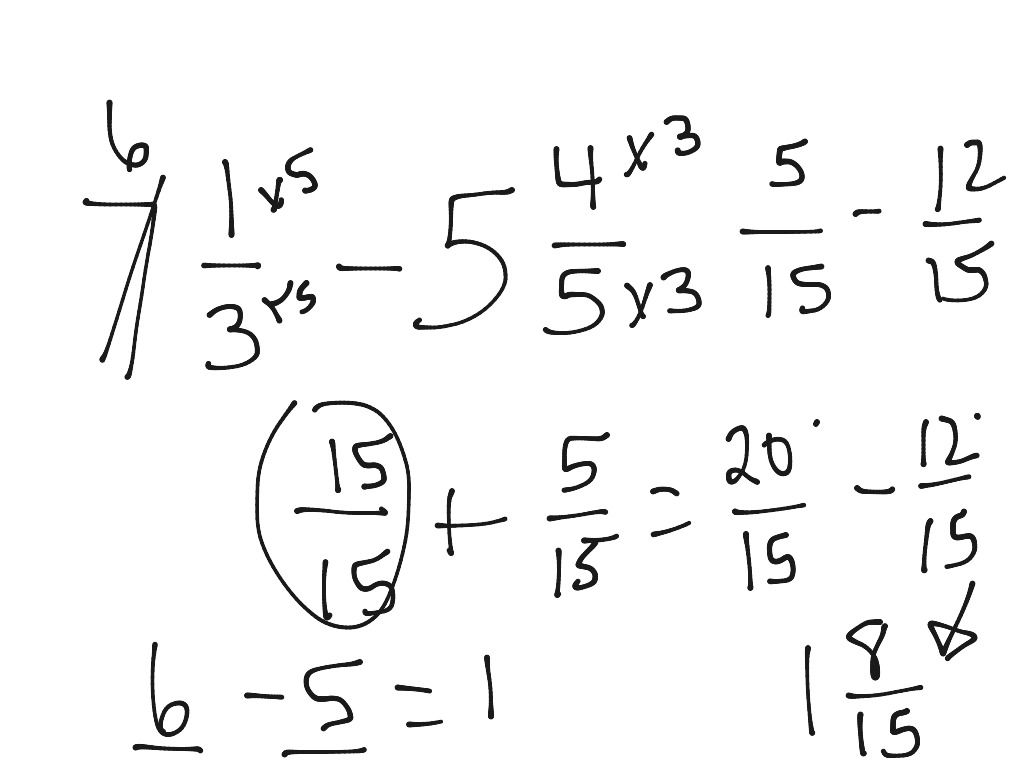 5 4 Subtracting Fractions And Mixed Numbers
