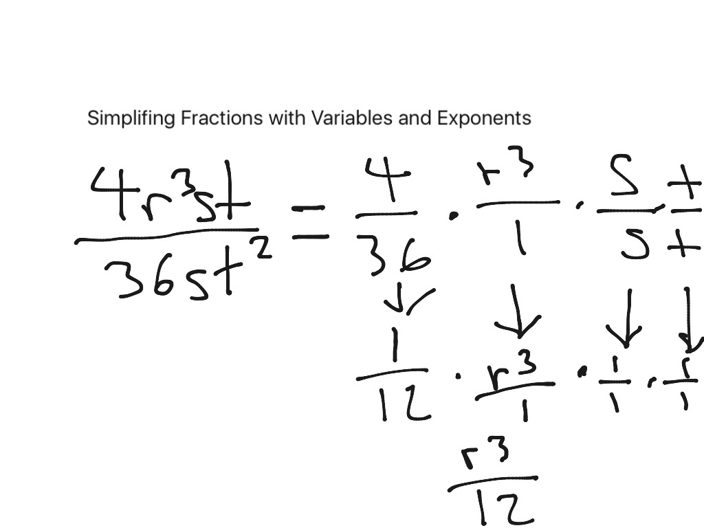 Simplifying Fractions With Exponents And Variables