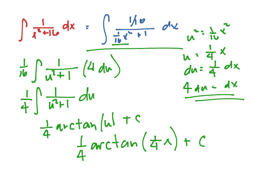 Integration Resulting In Inverse Trig Functions