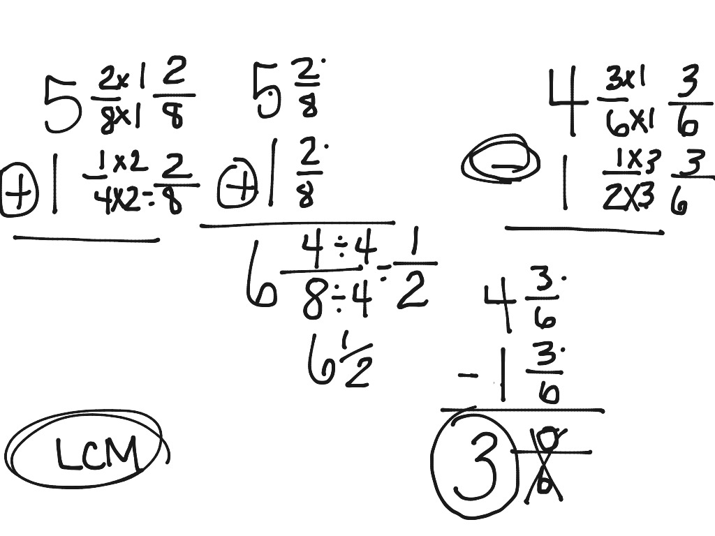Mixed Numbers Add And Subtract Unlike Denominators