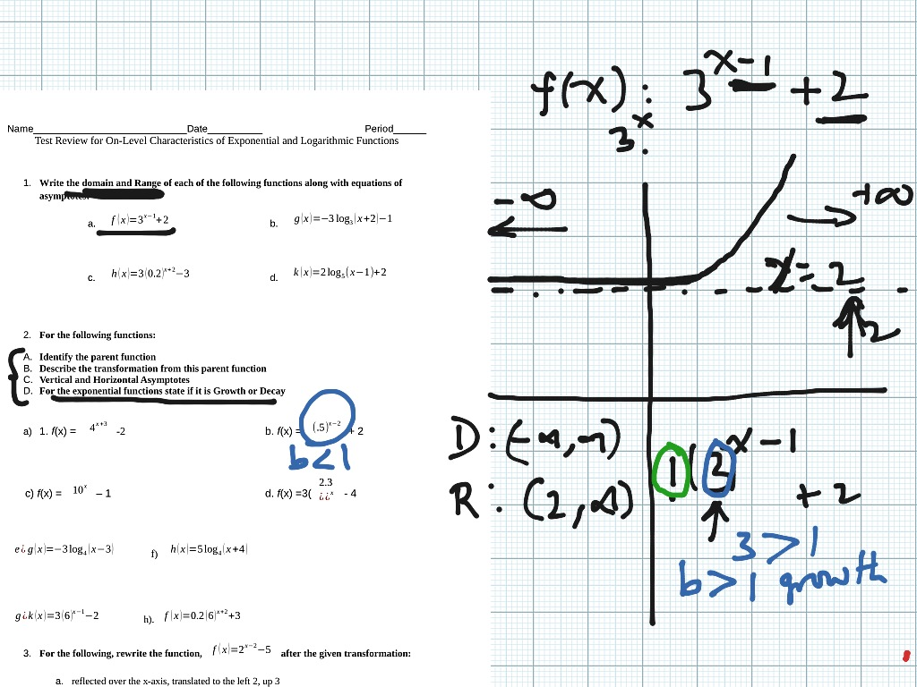 Test Review Characteristics Of Exponential And Logarithmic