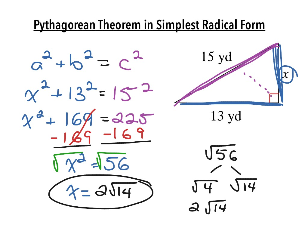 Pythagorean Theorem In Simplest Radical Form