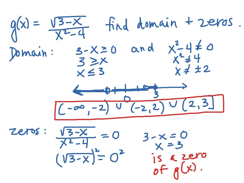 Finding The Domain And Zeros Of A Function
