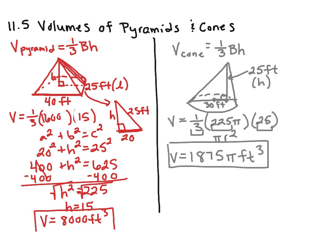 11 5 Volumes Of Pyramids And Cones